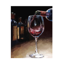 Paint by Numbers Kit still life DIY painting Red Wine on table picture on canvas paint 50*40 coloring by number DIY Gifts Pain(China)