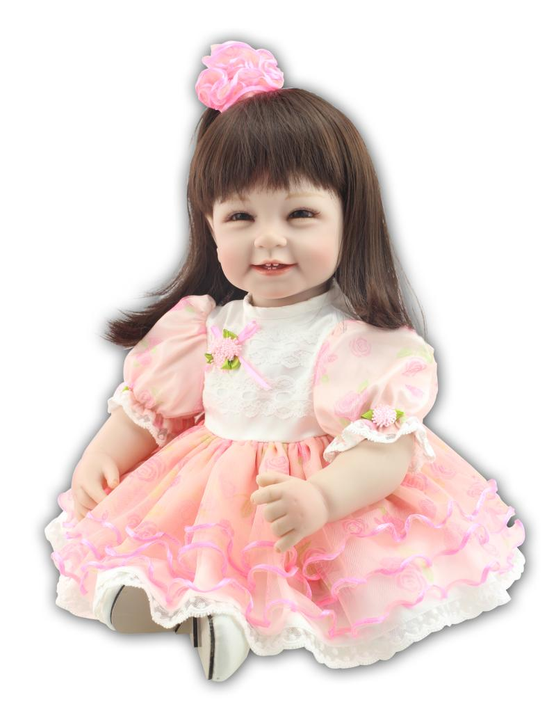 22 inch 55cm  baby reborn Silicone dolls, lifelike doll reborn babies for Childrens toys pink Princess Dress smiling face baby<br><br>Aliexpress