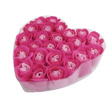 24 Pcs Red rose Scented Bath Soap Rose Petal in Heart Box(China)
