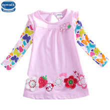 novatx F2275 fashion baby Girls long sleeve t shirts printed flower floral shirts girls clothes fashion girls t shirts hot top(China)