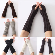 1pair Long Braid Cable Knit Fingerless Gloves Women Handmade Fashion Soft Gauntlet Practical Casual Gloves H9