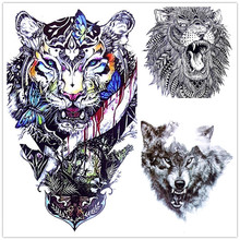 Cool Animals Dragon Wolf Body Art Sexy 21X15CM Tiger Waterproof Temporary Tattoo For Man Woman Henna Fake Flash Tattoo Stickers(China)