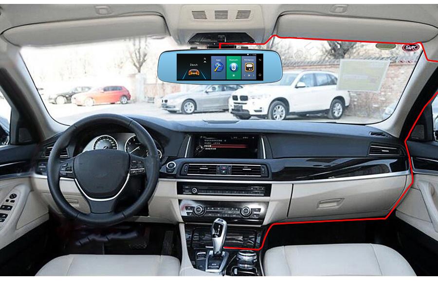 "Junsun 4G ADAS Car DVR Camera Digital Video recorder mirror 7.86"" Android 5.1 with two cameras dash cam Registrar black box 16GB 60"