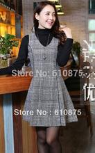 Women Plus  Size Autumn winter arrival plus size clothing woolen dress sleeveless tank autumn plaid one-piece dress