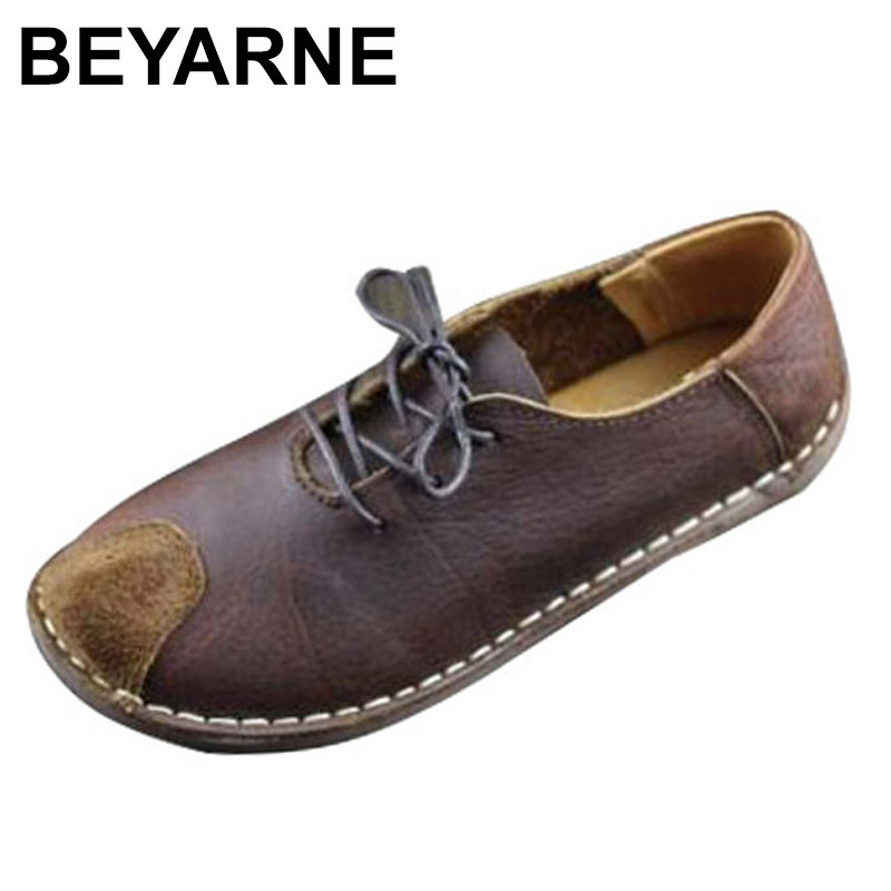 BEYARNE Womens Shoes Flat Hand-made Authentic Leather Women Oxfords Plain toe Ladies Flat Shoes Female Footwear <br>