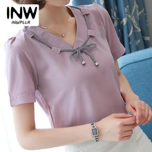 2017 New Women Blouse Chiffon V-neck Short Sleeve Shirts Casual Bow Blusas Mujer Summer Fashion Ladies Tops Purple White Red