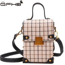 Plaid Box Bag Fashion Women Handbags Famous Brands Michael Handbag Winter Rivet Shoulder Bag Bolsos Mujer De Marca Famosa 2017(China)