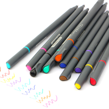 10 Pcs/set Fine Line Drawing Pen For Manga Cartoon Advertising Design Water Color Pens Stationery Office School Supplies(China)