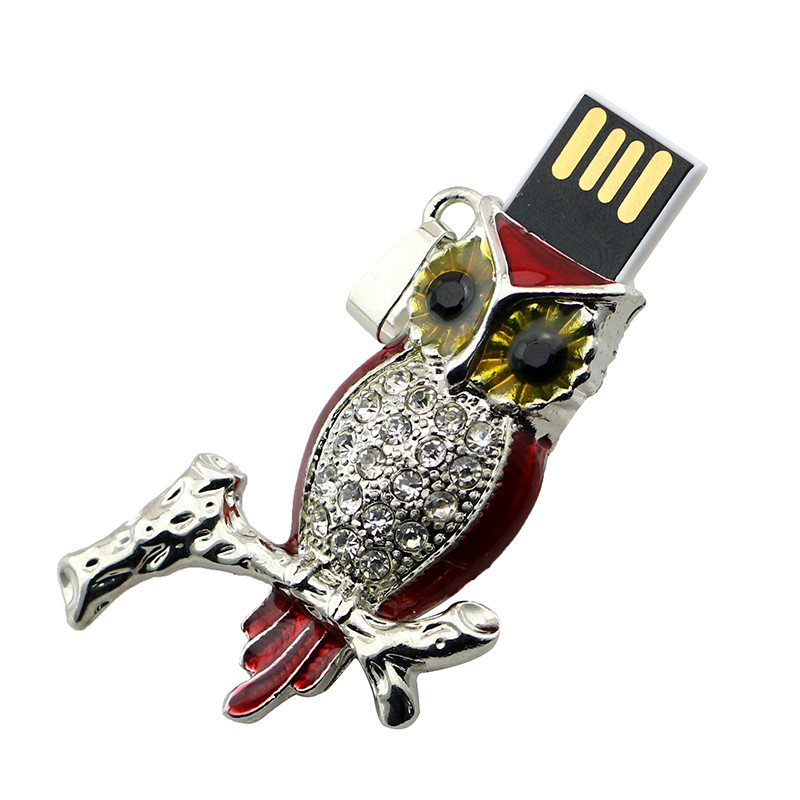 Animal USB Flash Drive Metal Diamond Owl Pendrive Nighthawk Pen Drive 4GB 8GB 16GB 32GB 64GB USB Memory Stick Gift With Necklace 43