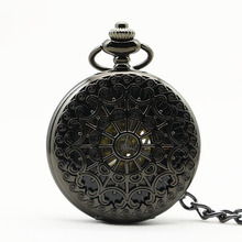Vintage Skeleton Black Spider Web Automatic Mechanical Pocket Watch Antique Men's Watch Gift(China)