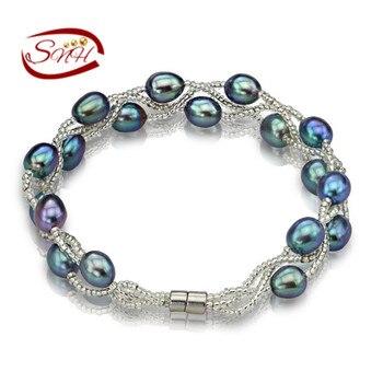 100% Натуральный Пресноводные Жемчужные Браслеты Серебро 925 Цепи много цветов Настоящая жемчужина подарок для подруги