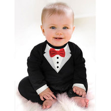 Fashion Baby Boys Clothes Romper Newborn Baby Clothing Kids Suit Formal Wedding Cloth Outerwear Gentleman Romper 2017 Spring(China)