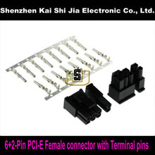 Free shipping 50sets 6+2Pin Female PCI-Express PCIe Connector with 400PCS Terminal pins Plug - Black