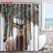 WONZOM Deer Polyester Fabric Shower Peacock Curtain Bathroom Decor Tiger Waterproof Animal Cortina De Bano With Hooks 2017 Gift