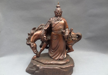 "song voge gem S5075 12"" Chinese Pure Bronze Song dynasty national hero Warrior Yue Fei Horse Statue"