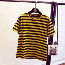 Joker Yellow Black Striped Short Sleeve T-shirt Women 2017 Newly O-Neck Casual T shirts Cute Summer Fashion Female Tops 64328