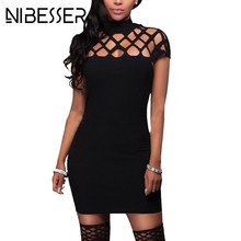 NIBESSER Sexy Women Bodycon Dresses Summer Hollow Trench Package Hip Short Sleeve Female Dress Plus Size XXXL 5XL Vestidos