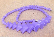 free shipping ~$wholesale_jewelry_wig$ Fashion Natural 6-20mm Lavender  Round & Square Pretty Beads Necklace