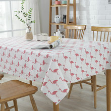 Natural Kiss Hot Sale Waterproof Flamingo Dining Kitchen Tablecloth Printed Cotton Linen Table Cloth Household Decor Tablecloths(China)