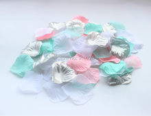 800PCS Mixed Silver Mint Pink White Silk Rose Petals Table Confetti Wedding Centerpieces Party Bridal Shower Decoration(China)
