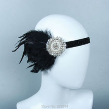 Vintage Crystal Rhinestone Black Feather Headband Flapper Fancy Dress Costume Party Hair band Headpiece 1920's Gatsby(China)