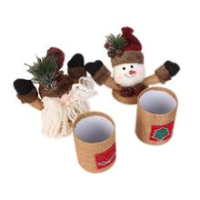1Pc Christmas Candy Jar Santa Claus Elk Snowman Children Gift Merry Christmas Linen Gift Box Christmas Supplies #20(China)