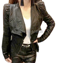 New 2014 autumn spring women fashion black Pu faux leather slim studded jackets plus size rivets spikes turn down collar jacket