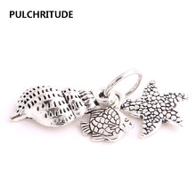 PULCHRITUDE 20pcs/lot Antique Silver Starfish Pendant Sea Horse Charm Shell fish bones Hand Made Charm Earing Jewelry Diy C1089