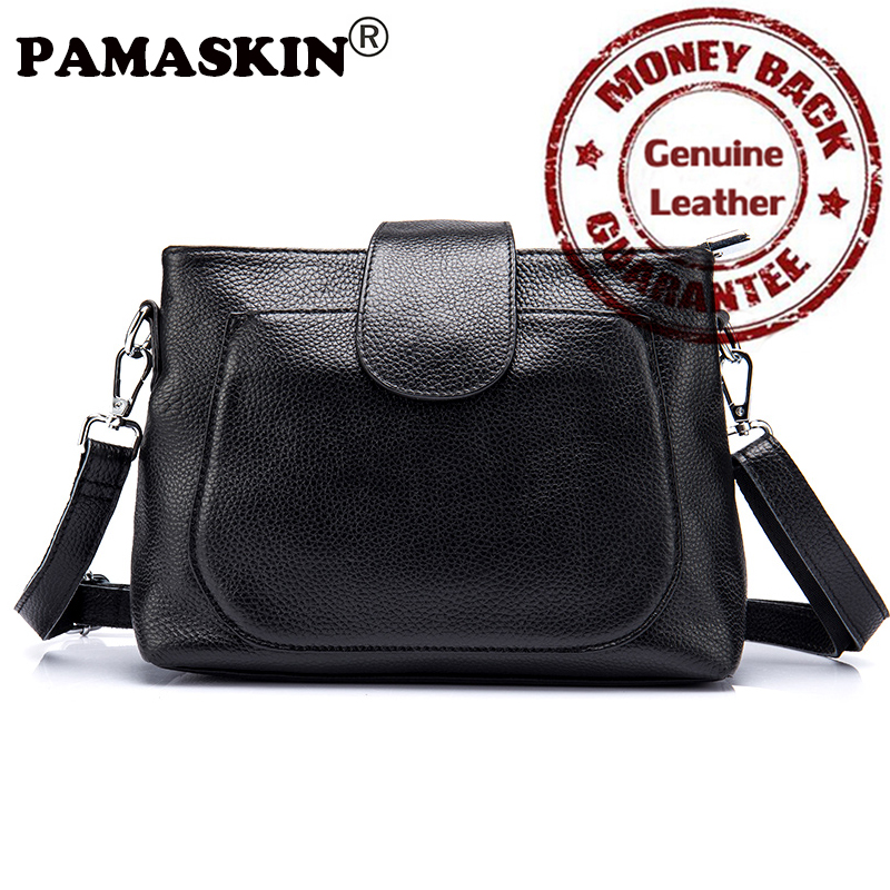 PAMASKIN Brand Women Messenger Bags Premium Genuine Leather 2017 New Arrivals Double Zipper Compartments Female Crossbody Bags<br>