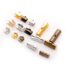 100pcs 8*9/10/13/16/20mm Textured End Caps Crimp Beads Leather Connector Clasps Fittings Jewelry Findings Accessories