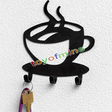 2016 Hot Black Metal 3 Hooks Key Holder Hook Rack Hanger Organizer Home Coffee Wall Mounted Decor