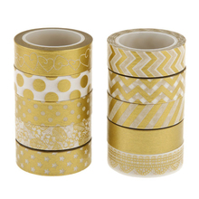 10pcs Gold Decorative DIY Glitter Gold Star Washi Sticky Paper Masking Adhesive Tape Label Craft School Stationery(China)
