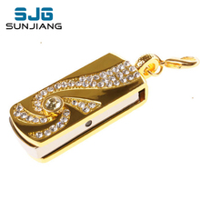 Metal Crystal Gold Stainless steel rotary Key Chain fashion USB Flash Drive 8GB 16GB pendrive 32GB pen drive Memory Stick U disk(China)