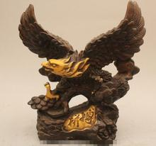 "S03201    9"" Chinese Folk Feng Shui Bronze Fly Hawk Eagle King of birds Statue Sculpture"