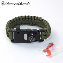 DoreenBeads Paracord Bracelet Woven Polyester Survival Fishing Tool Compass (Bait & Fishhook & Line) Green Black 26.5cm, 1 set