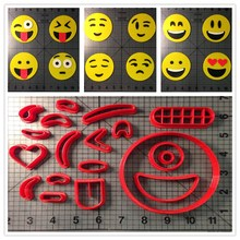 Different Kinds Of Circle Face Emoji Fondant Cupcake Top Made 3D Printed Cookie Cutter Set Cake Decorating Tools(China)