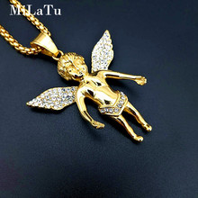 MiLaTu Bling Rhinestone Angel Pendant & Necklace Stainless Steel Prayer Spiritual Necklace Jewelry Gift Amulet NE614G(China)