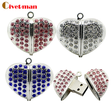 100% real capacity Jewelry Crystal metal usb flash drive Crystal Heart 4gb 8gb 16gb bulk love flash memory stick pendrive