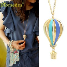 Diomedes Gussy Life wholesale  New Fashion Colorful Jewelry Aureate Drip Hot Air Balloon Pendant Long Necklace Dec629