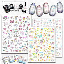 1 Sheets Unicorn Cute Animal Nail Sticker DIY Lovely Duck Adhesive Nail Art Decorations 3D Adhesive Tips Nail Decals CHCA065-069