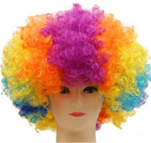 Clown Wig Fei-Show Synthetic Low Temperature Fiber Carnival Peruca Perruque Peruk Costume Cos-play Football Fan Curly Afro Hair(China)
