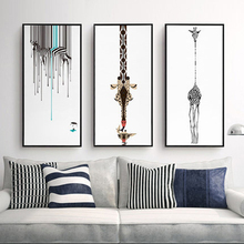 Triptych Abstract Decorative Painting Living Room Modern Wall Painting Black And White Zebra Personality Giraffe Canvas Painting