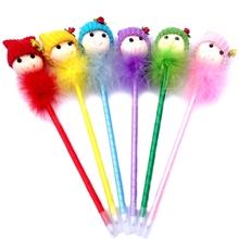 2017 Ballpoint Pens Lovely Dolls Head Feather Ball Pen Students Stationery Office Supplies School Kawaii Material Escolar Stylo