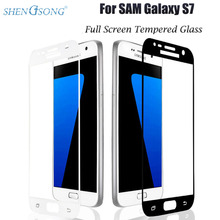 SHENGSONG Premium S7 Tempered Glass 2.5D Curved Surface Full Cover Screen Protector Film For Samsung Galaxy S7 Protective Glass