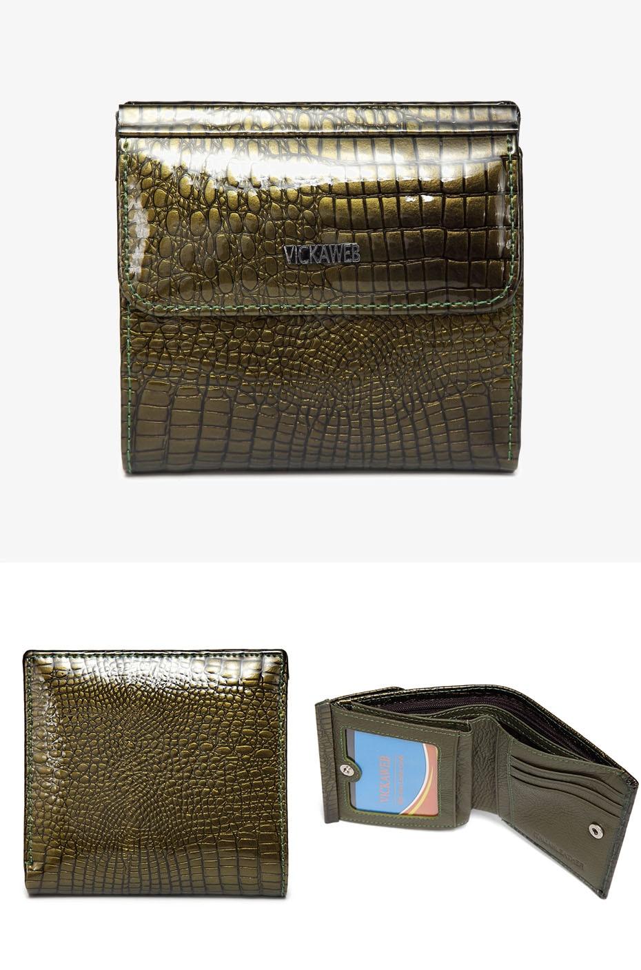 VICKAWEB Mini Wallet Women Genuine Leather Wallets Fashion Alligator Hasp Short Wallet Female Small Woman Wallets And Purses-AE209-020