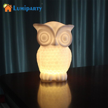 LumiParty LED Night Light Owl Shape PVC Table Lamp Indoor Decorative Night light Kid Room Party Decor White/Warm White Light(China)