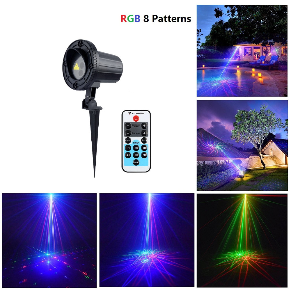 Laser Christmas Projector Outdoor 8 Patterns RGB Waterproof Light Shower With Wireless Remote Control For Garden Decoration<br><br>Aliexpress