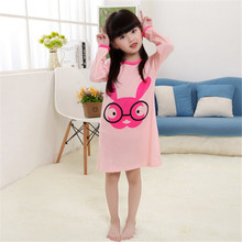 Girls Nightgown Cotton Children Night Dress Full Sleeve Cartoon Printed Brand Sleeping Clothes Pyjamas Kids(China)