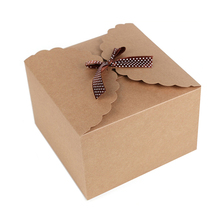 5pcs/pack 22*22*15cm High Quality Large Square Gift Boxes Simple Ribbon Bow Kraft Paper Carton Boxes Wholesale