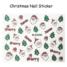 Free Shipping 5pcs Glitter Merry Christmas Nail Art Sticker Xmas Santa Nail Decal Christmas Trees Manicure Decoration #939